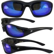 Oriole Foam Padded Sunglasses - Blue Revo Lens for Skydiving   Motorcycling   Dry Eye   Cycling @ Specs4sports